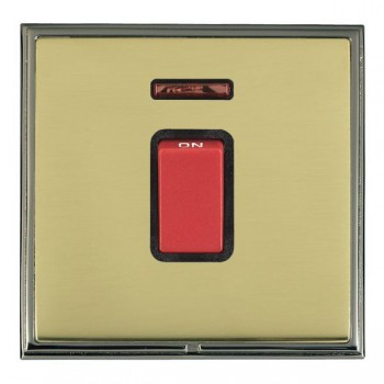 Hamilton Linea-Scala CFX Black Nickel/Polished Brass 1 Gang 45A Double Pole Red Rocker + neon with Black Insert