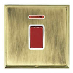 Hamilton Linea-Scala CFX Polished Brass/Antique Brass 1 Gang 45A Double Pole Red Rocker + neon with White Insert