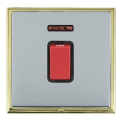 Hamilton Linea-Scala CFX Polished Brass/Bright Steel 1 Gang 45A Double Pole Red Rocker + neon with Black ...