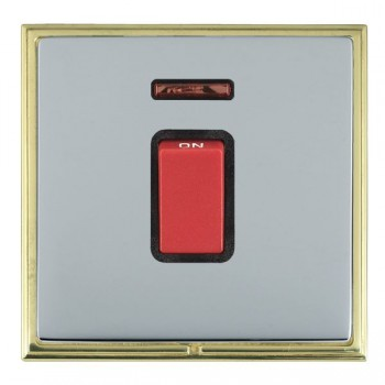 Hamilton Linea-Scala CFX Polished Brass/Bright Steel 1 Gang 45A Double Pole Red Rocker + neon with Black Insert