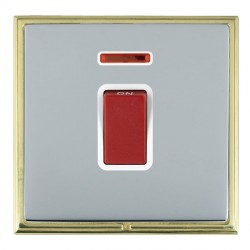 Hamilton Linea-Scala CFX Polished Brass/Bright Steel 1 Gang 45A Double Pole Red Rocker + neon with White ...
