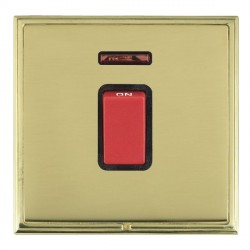 Hamilton Linea-Scala CFX Polished Brass/Polished Brass 1 Gang 45A Double Pole Red Rocker + neon with Black Insert
