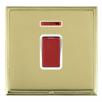 Hamilton Linea-Scala CFX Polished Brass/Polished Brass 1 Gang 45A Double Pole Red Rocker + neon with White Insert