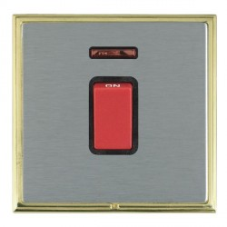 Hamilton Linea-Scala CFX Polished Brass/Satin Steel 1 Gang 45A Double Pole Red Rocker + neon with Black I...