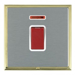 Hamilton Linea-Scala CFX Polished Brass/Satin Steel 1 Gang 45A Double Pole Red Rocker + neon with White Insert