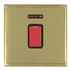Hamilton Linea-Scala CFX Satin Brass/Satin Brass 1 Gang 45A Double Pole Red Rocker + neon with Black Inse...