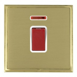 Hamilton Linea-Scala CFX Satin Brass/Satin Brass 1 Gang 45A Double Pole Red Rocker + neon with White Inse...