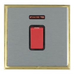 Hamilton Linea-Scala CFX Satin Brass/Satin Steel 1 Gang 45A Double Pole Red Rocker + neon with Black Inse...
