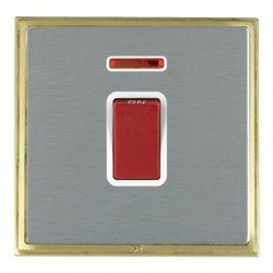 Hamilton Linea-Scala CFX Satin Brass/Satin Steel 1 Gang 45A Double Pole Red Rocker + neon with White Insert