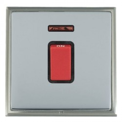 Hamilton Linea-Scala CFX Satin Nickel/Bright Steel 1 Gang 45A Double Pole Red Rocker + neon with Black In...
