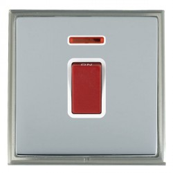 Hamilton Linea-Scala CFX Satin Nickel/Bright Steel 1 Gang 45A Double Pole Red Rocker + neon with White In...