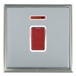 Hamilton Linea-Scala CFX Satin Nickel/Bright Steel 1 Gang 45A Double Pole Red Rocker + neon with White Insert