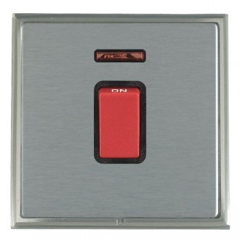 Hamilton Linea-Scala CFX Satin Nickel/Satin Steel 1 Gang 45A Double Pole Red Rocker + neon with Black Insert