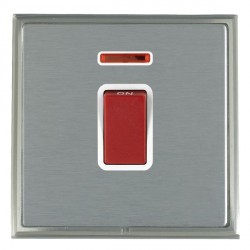 Hamilton Linea-Scala CFX Satin Nickel/Satin Steel 1 Gang 45A Double Pole Red Rocker + neon with White Insert