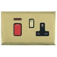 Hamilton Linea-Scala CFX Polished Brass/Polished Brass 1 Gang Double Pole 45A Red Rocker + 13A Switched S...