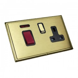 Hamilton Linea-Scala CFX Polished Brass/Satin Brass 1 Gang Double Pole 45A Red Rocker + 13A Switched Sock...