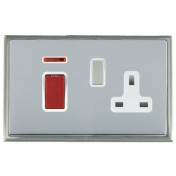 Hamilton Linea-Scala CFX Satin Nickel/Bright Steel 1 Gang Double Pole 45A Red Rocker + 13A Switched Socket with White Insert