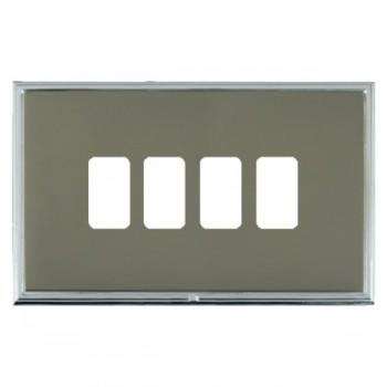 Hamilton Linea-Scala CFX Bright Chrome/Black Nickel 4 Gang Grid Fix Aperture Plate with Grid