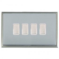 Hamilton Linea-Scala CFX Satin Nickel/Bright Steel 4 Gang Multi way Touch Master Trailing Edge with White...