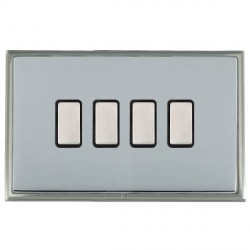 Hamilton Linea-Scala CFX Satin Nickel/Bright Steel 4 Gang Multi way Touch Slave Trailing Edge with Black Insert