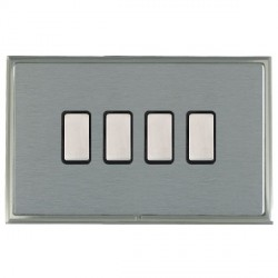 Hamilton Linea-Scala CFX Satin Nickel/Satin Steel 4 Gang Multi way Touch Slave Trailing Edge with Black Insert