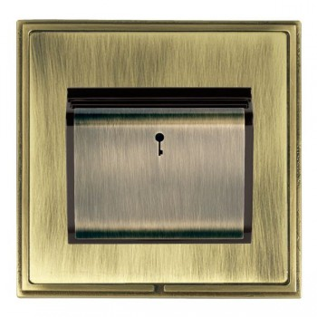 Hamilton Linea-Scala CFX Antique Brass/Antique Brass 1 Gang On/Off 10A Card Switch with Blue LED Locator with Black Insert