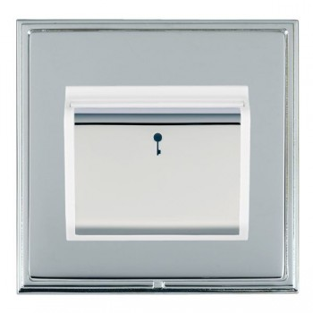 Hamilton Linea-Scala CFX Bright Chrome/Bright Chrome 1 Gang On/Off 10A Card Switch with Blue LED Locator with White Insert