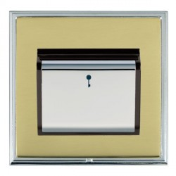 Hamilton Linea-Scala CFX Bright Chrome/Polished Brass 1 Gang On/Off 10A Card Switch with Blue LED Locator with Black Insert