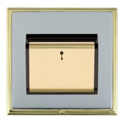 Hamilton Linea-Scala CFX Polished Brass/Bright Steel 1 Gang On/Off 10A Card Switch with Blue LED Locator with Black Insert