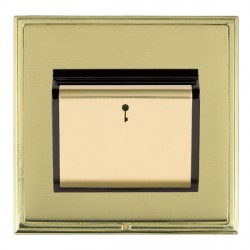 Hamilton Linea-Scala CFX Polished Brass/Polished Brass 1 Gang On/Off 10A Card Switch with Blue LED Locator with Black Insert