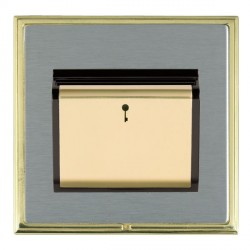 Hamilton Linea-Scala CFX Polished Brass/Satin Steel 1 Gang On/Off 10A Card Switch with Blue LED Locator with Black Insert