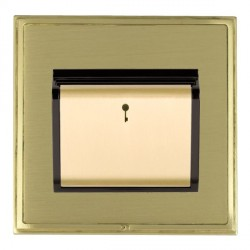 Hamilton Linea-Scala CFX Satin Brass/Satin Brass 1 Gang On/Off 10A Card Switch with Blue LED Locator with Black Insert
