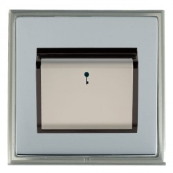 Hamilton Linea-Scala CFX Satin Nickel/Bright Steel 1 Gang On/Off 10A Card Switch with Blue LED Locator with Black Insert