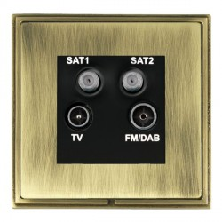 Hamilton Linea-Scala CFX Antique Brass/Antique Brass TV+FM+SAT+SAT (DAB Compatible) with Black Insert