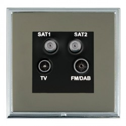 Hamilton Linea-Scala CFX Bright Chrome/Black Nickel TV+FM+SAT+SAT (DAB Compatible) with Black Insert