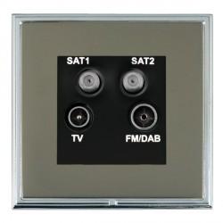 Hamilton Linea-Scala CFX Bright Chrome/Black Nickel TV+FM+SAT+SAT (DAB Compatible) with Black Insert