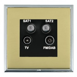 Hamilton Linea-Scala CFX Bright Chrome/Polished Brass TV+FM+SAT+SAT (DAB Compatible) with Black Insert