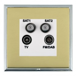 Hamilton Linea-Scala CFX Bright Chrome/Polished Brass TV+FM+SAT+SAT (DAB Compatible) with White Insert