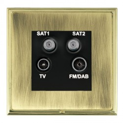 Hamilton Linea-Scala CFX Polished Brass/Antique Brass TV+FM+SAT+SAT (DAB Compatible) with Black Insert