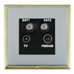 Hamilton Linea-Scala CFX Polished Brass/Bright Steel TV+FM+SAT+SAT (DAB Compatible) with Black Insert