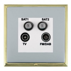 Hamilton Linea-Scala CFX Polished Brass/Bright Steel TV+FM+SAT+SAT (DAB Compatible) with White Insert