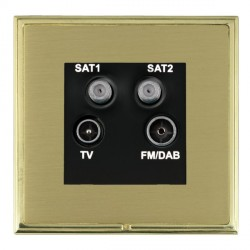 Hamilton Linea-Scala CFX Polished Brass/Satin Brass TV+FM+SAT+SAT (DAB Compatible) with Black Insert