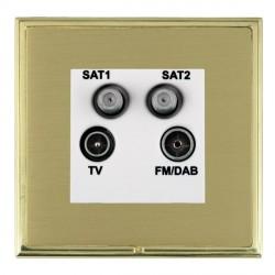 Hamilton Linea-Scala CFX Polished Brass/Satin Brass TV+FM+SAT+SAT (DAB Compatible) with White Insert