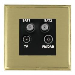 Hamilton Linea-Scala CFX Satin Brass/Satin Brass TV+FM+SAT+SAT (DAB Compatible) with Black Insert