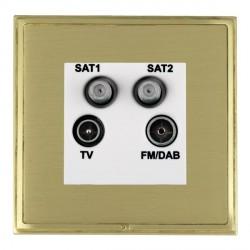 Hamilton Linea-Scala CFX Satin Brass/Satin Brass TV+FM+SAT+SAT (DAB Compatible) with White Insert
