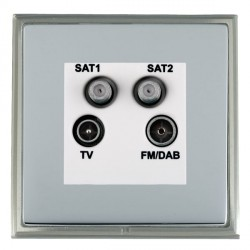 Hamilton Linea-Scala CFX Satin Nickel/Bright Steel TV+FM+SAT+SAT (DAB Compatible) with White Insert