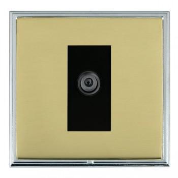 Hamilton Linea-Scala CFX Bright Chrome/Polished Brass 1 Gang Digital Satellite with Black Insert
