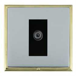 Hamilton Linea-Scala CFX Polished Brass/Bright Steel 1 Gang Digital Satellite with Black Insert