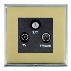 Hamilton Linea-Scala CFX Bright Chrome/Polished Brass TV+FM+SAT (DAB Compatible) with Black Insert