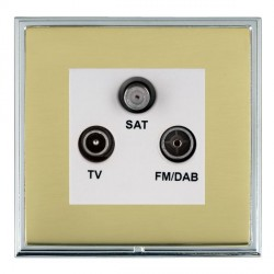 Hamilton Linea-Scala CFX Bright Chrome/Polished Brass TV+FM+SAT (DAB Compatible) with White Insert